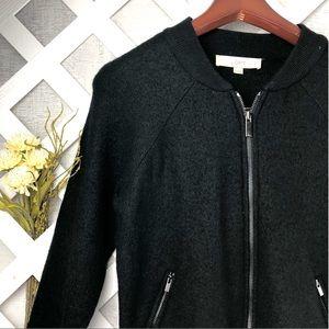 Ann Taylor Loft Black Wool Bomber Jacket Size XS